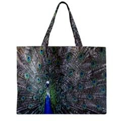 Peacock Four Spot Feather Bird Zipper Mini Tote Bag