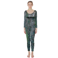 Peacock Four Spot Feather Bird Long Sleeve Catsuit