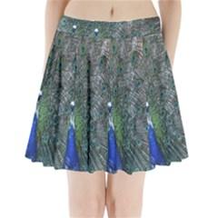 Peacock Four Spot Feather Bird Pleated Mini Skirt