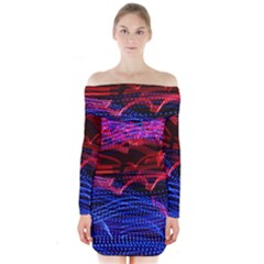 Lights Abstract Curves Long Exposure Long Sleeve Off Shoulder Dress