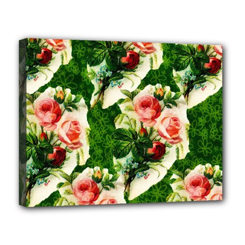 Floral Collage Canvas 14  x 11