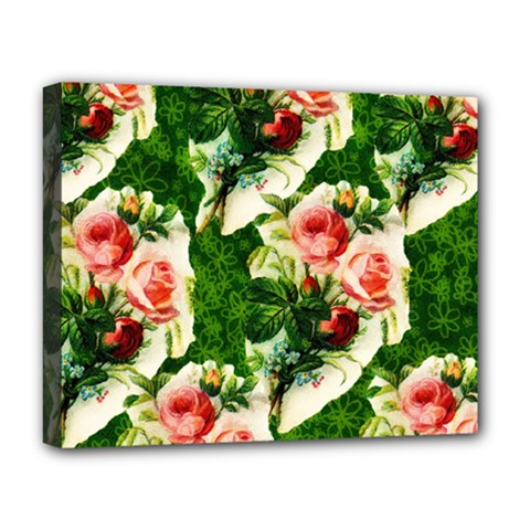 Floral Collage Deluxe Canvas 20  x 16