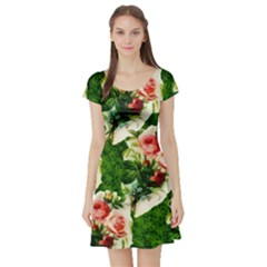 Floral Collage Short Sleeve Skater Dress