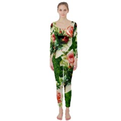 Floral Collage Long Sleeve Catsuit