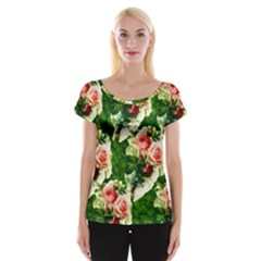 Floral Collage Women s Cap Sleeve Top