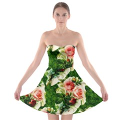 Floral Collage Strapless Bra Top Dress