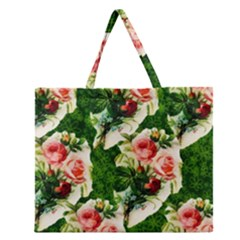 Floral Collage Zipper Large Tote Bag