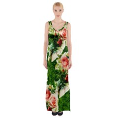 Floral Collage Maxi Thigh Split Dress