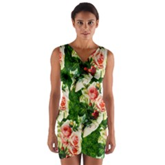Floral Collage Wrap Front Bodycon Dress