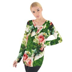 Floral Collage Women s Tie Up Tee