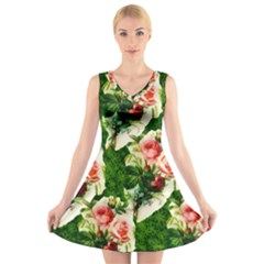 Floral Collage V Neck Sleeveless Skater Dress