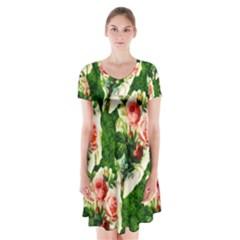 Floral Collage Short Sleeve V-neck Flare Dress