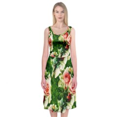 Floral Collage Midi Sleeveless Dress