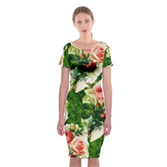 Floral Collage Classic Short Sleeve Midi Dress