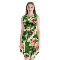 Floral Collage Sleeveless Chiffon Dress