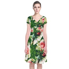 Floral Collage Short Sleeve Front Wrap Dress