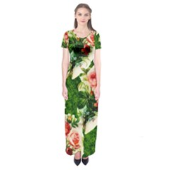 Floral Collage Short Sleeve Maxi Dress