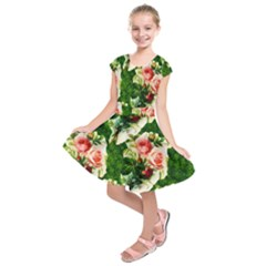 Floral Collage Kids  Short Sleeve Dress