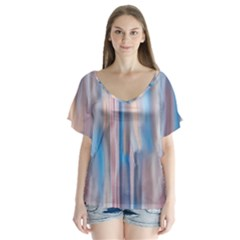 Vertical Abstract Contemporary Flutter Sleeve Top