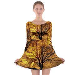 Moon Tree Kahl Silhouette Long Sleeve Skater Dress