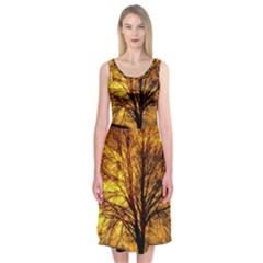 Moon Tree Kahl Silhouette Midi Sleeveless Dress