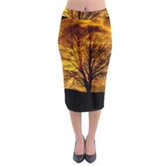 Moon Tree Kahl Silhouette Midi Pencil Skirt