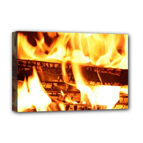 Fire Flame Wood Fire Brand Deluxe Canvas 18  x 12