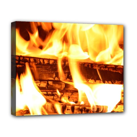 Fire Flame Wood Fire Brand Deluxe Canvas 20  x 16