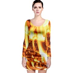 Fire Flame Wood Fire Brand Long Sleeve Bodycon Dress