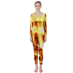 Fire Flame Wood Fire Brand Long Sleeve Catsuit