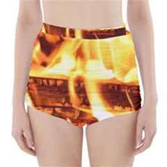 Fire Flame Wood Fire Brand High-Waisted Bikini Bottoms
