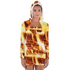Fire Flame Wood Fire Brand Women s Long Sleeve Hooded T-shirt