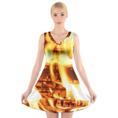Fire Flame Wood Fire Brand V-Neck Sleeveless Skater Dress