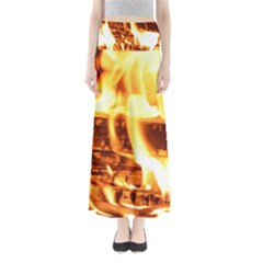 Fire Flame Wood Fire Brand Maxi Skirts