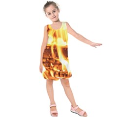 Fire Flame Wood Fire Brand Kids  Sleeveless Dress