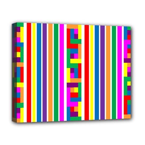 Rainbow Geometric Design Spectrum Deluxe Canvas 20  x 16
