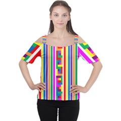 Rainbow Geometric Design Spectrum Women s Cutout Shoulder Tee