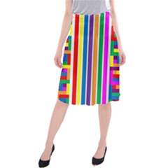 Rainbow Geometric Design Spectrum Midi Beach Skirt