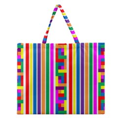 Rainbow Geometric Design Spectrum Zipper Large Tote Bag