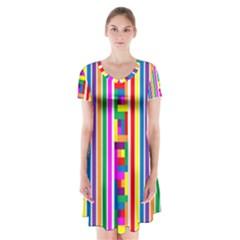Rainbow Geometric Design Spectrum Short Sleeve V-neck Flare Dress