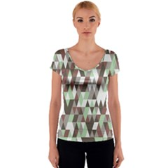 Pattern Triangles Random Seamless Women s V-Neck Cap Sleeve Top