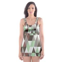 Pattern Triangles Random Seamless Skater Dress Swimsuit