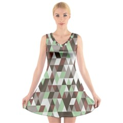 Pattern Triangles Random Seamless V Neck Sleeveless Skater Dress