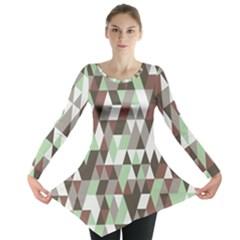 Pattern Triangles Random Seamless Long Sleeve Tunic