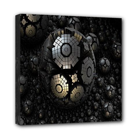 Fractal Sphere Steel 3d Structures Mini Canvas 8  x 8