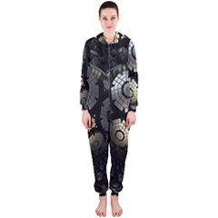 Fractal Sphere Steel 3d Structures Hooded Jumpsuit (Ladies)