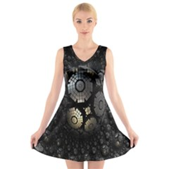 Fractal Sphere Steel 3d Structures V Neck Sleeveless Skater Dress