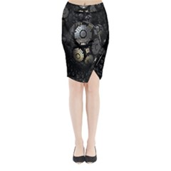 Fractal Sphere Steel 3d Structures Midi Wrap Pencil Skirt