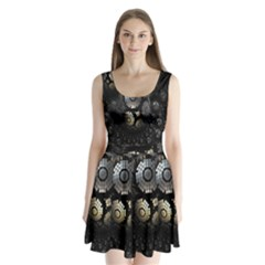 Fractal Sphere Steel 3d Structures Split Back Mini Dress