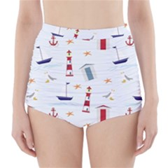 Seaside Beach Summer Wallpaper High-Waisted Bikini Bottoms